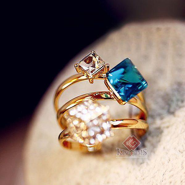 Nhẫn nữ Aquamarine kết hợp Topaz hoặc Thạch anh