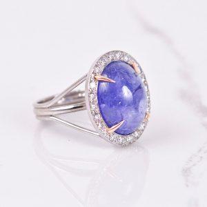 Cabochon Tanzanite Ring with Diamond Halo 3