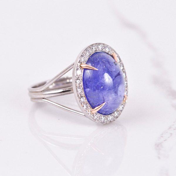 Cabochon Tanzanite Ring with Diamond Halo 2