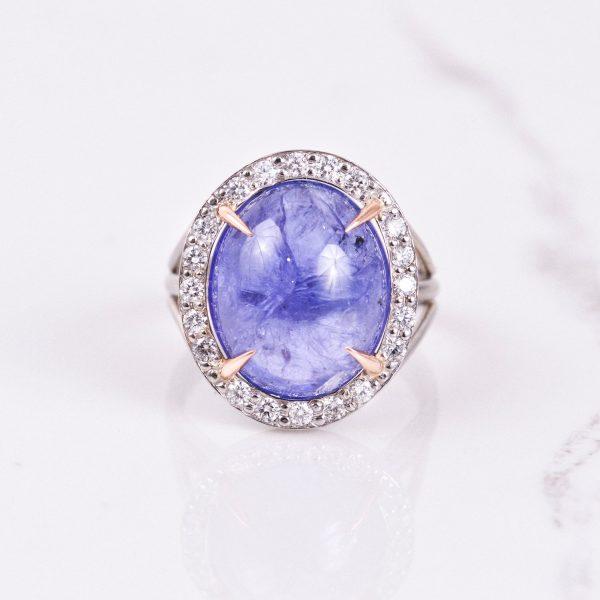 Cabochon Tanzanite Ring with Diamond Halo 1