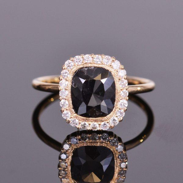 Black Diamond Ring with Diamond Scalloped Halo 1