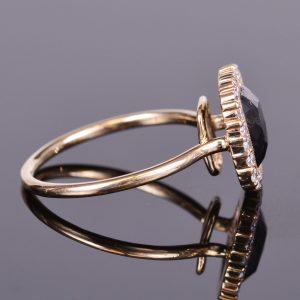 Black Diamond Ring with Diamond Scalloped Halo 3