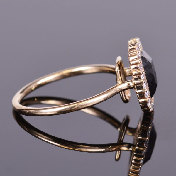 Black Diamond Ring with Diamond Scalloped Halo 2