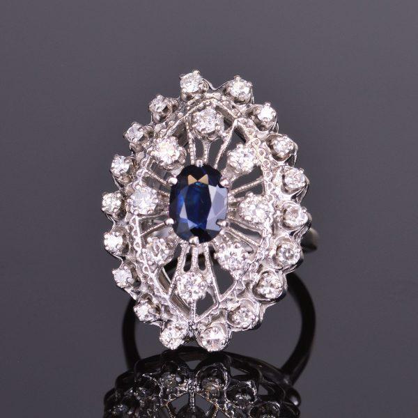 Blue Sapphire and Diamond Ring Estate 1