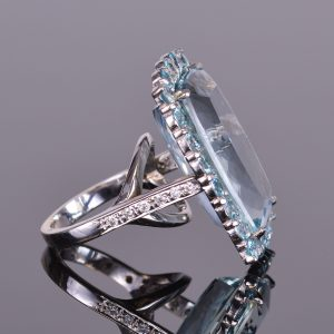 Aquamarine and Blue Zircon Halo Ring with Diamonds 3