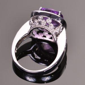 Amethyst Diamond Girl Ring in 14kt White Gold 3