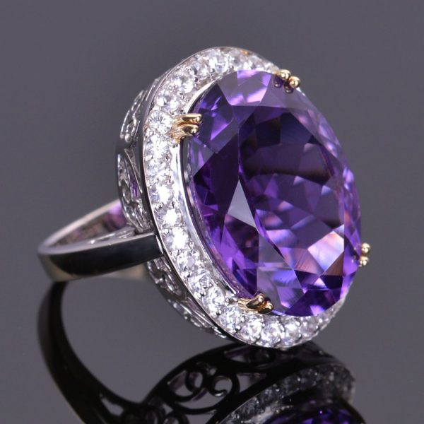Amethyst and White Sapphire Cocktail Ring 1