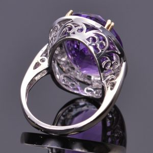 Amethyst and White Sapphire Cocktail Ring 5