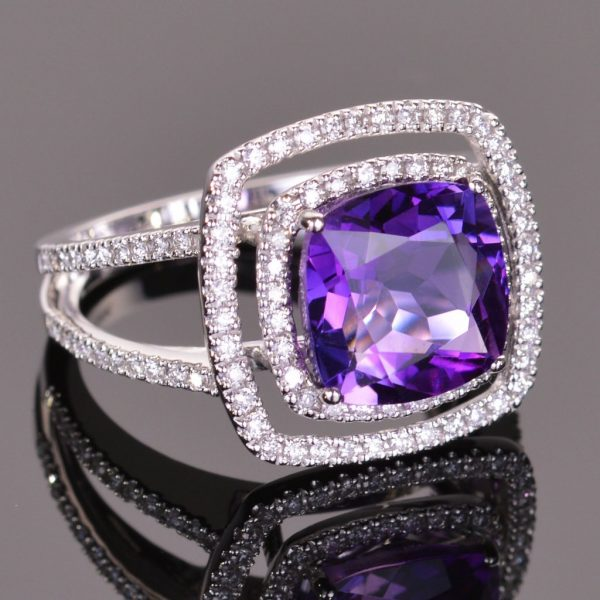 Amethyst and White Diamond Double Halo Ring 1