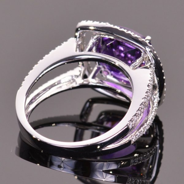Amethyst and White Diamond Double Halo Ring 2