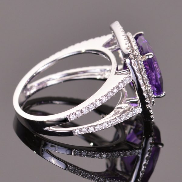 Amethyst and White Diamond Double Halo Ring 3