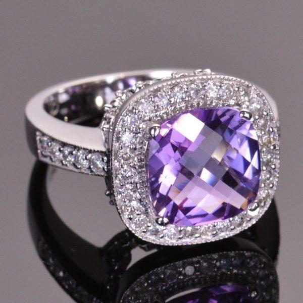 Amethyst Diamond Girl Ring in 14kt White Gold 1