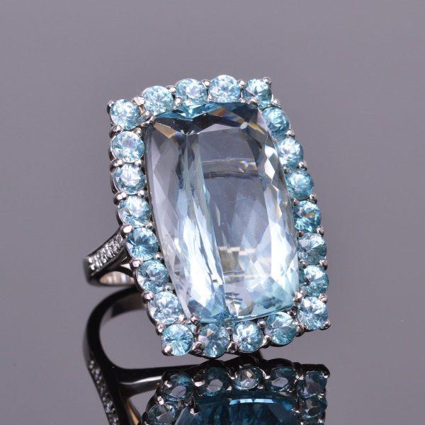 Aquamarine and Blue Zircon Halo Ring with Diamonds 1