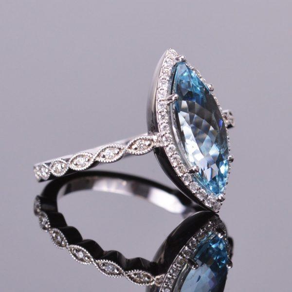 Aquamarine Marquise and Diamond Ring 2