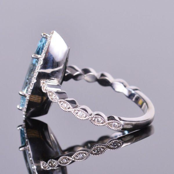 Aquamarine Marquise and Diamond Ring 3