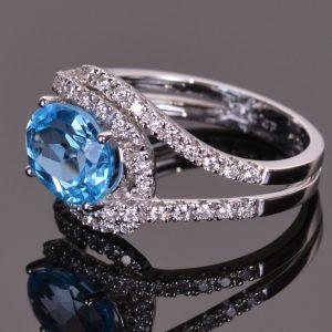 Blue Topaz and Diamond Infinity Ring 4
