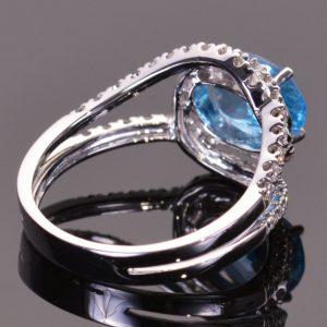 Blue Topaz and Diamond Infinity Ring 5