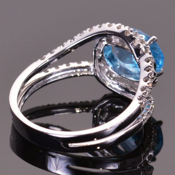 Blue Topaz and Diamond Infinity Ring 3