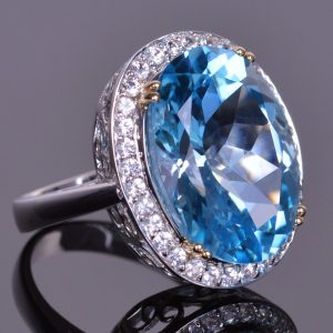 Blue Topaz and White Sapphire Cocktail Ring 4