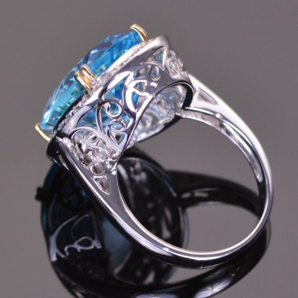 Blue Topaz and White Sapphire Cocktail Ring 3