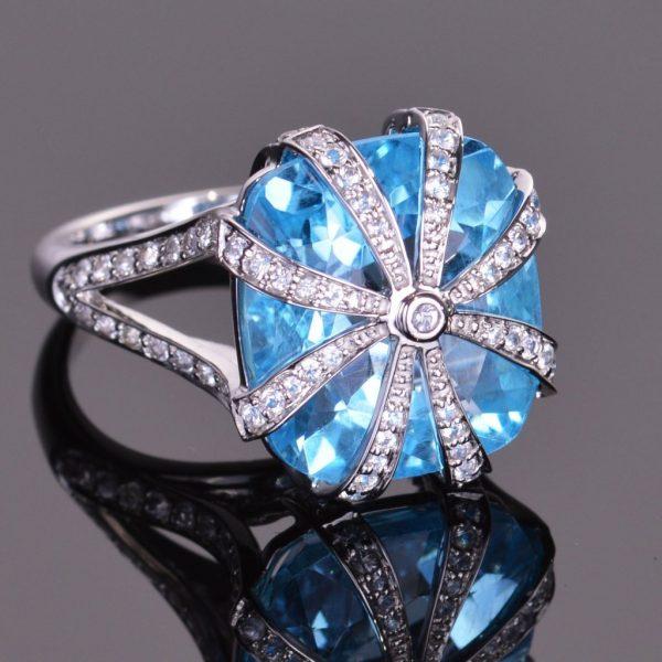 Blue Topaz Cascade Ring 1