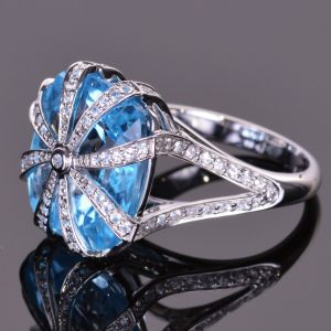 Blue Topaz Cascade Ring 4