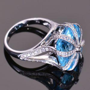 Blue Topaz Cascade Ring 5