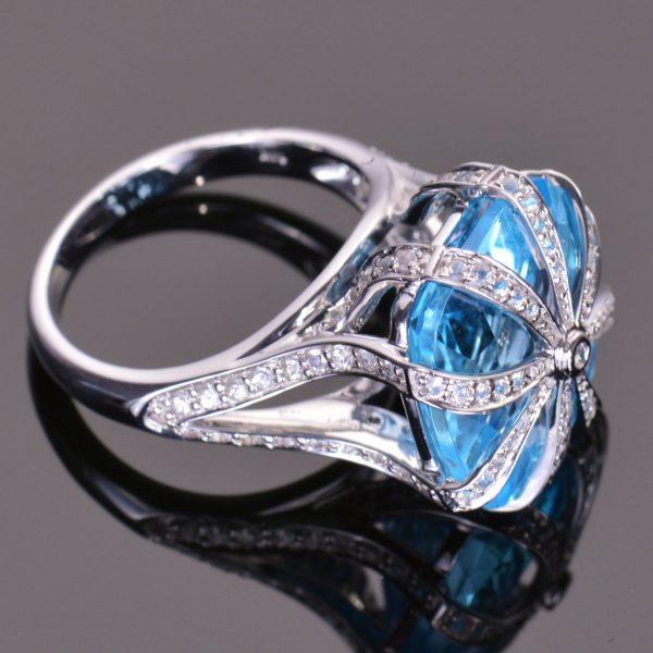 Blue Topaz Cascade Ring 3