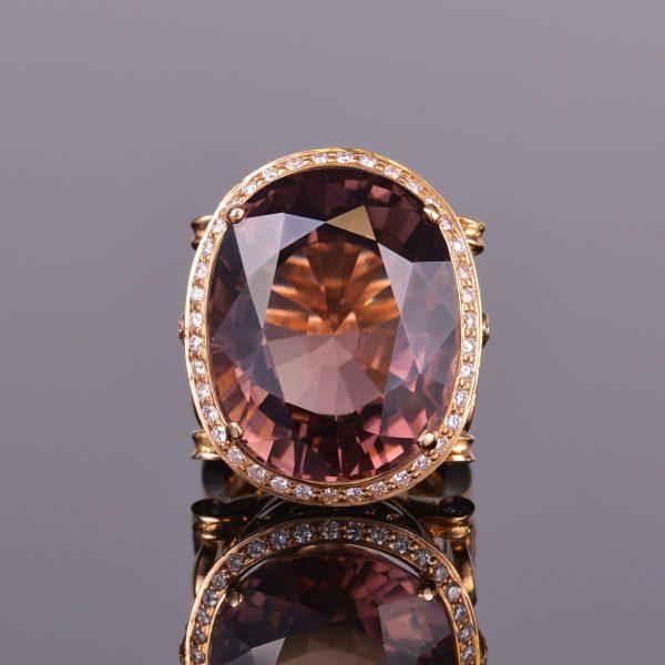 Brown Tourmaline and Diamond Cocktail Ring 1