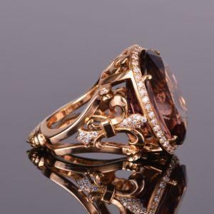 Brown Tourmaline and Diamond Cocktail Ring 4