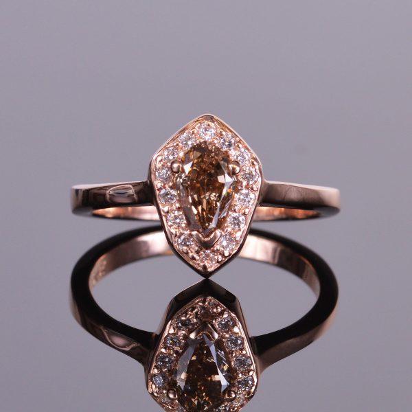 Cognac Shield Cut Diamond Ring 1