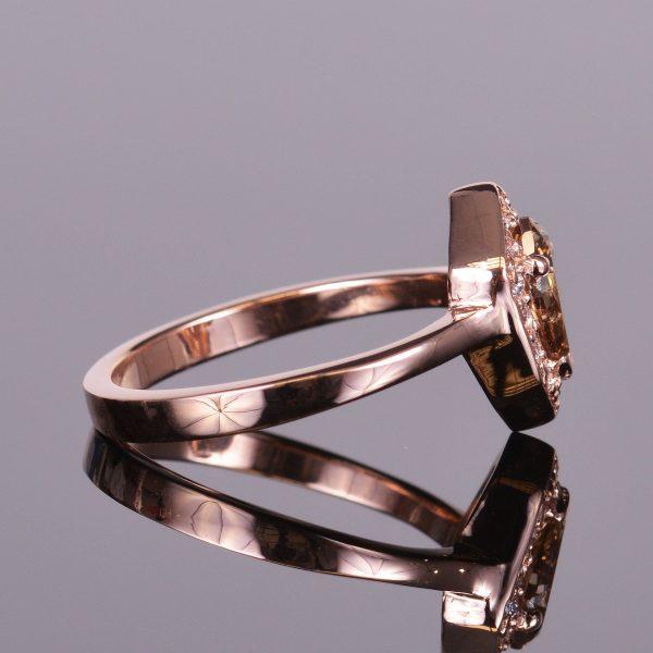 Cognac Shield Cut Diamond Ring 2