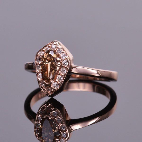 Cognac Shield Cut Diamond Ring 3