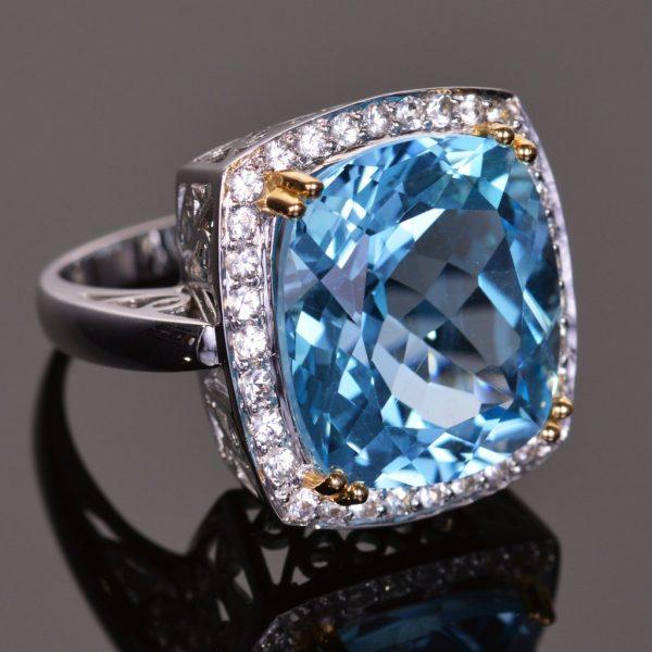 Cushion Cut Blue Topaz and White Sapphire Cocktail Ring 2