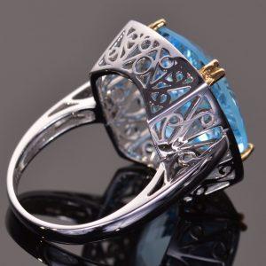 Cushion Cut Blue Topaz and White Sapphire Cocktail Ring 5