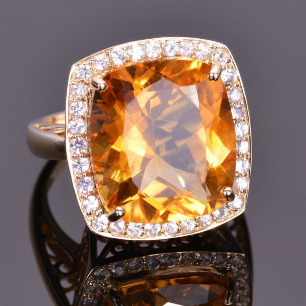 Cushion Cut Golden Citrine and White Sapphire Ring 1