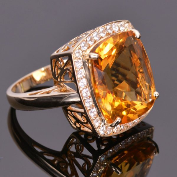 Cushion Cut Golden Citrine and White Sapphire Ring 2