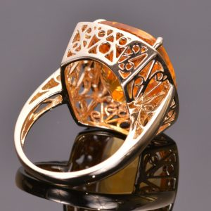 Cushion Cut Golden Citrine and White Sapphire Ring 5
