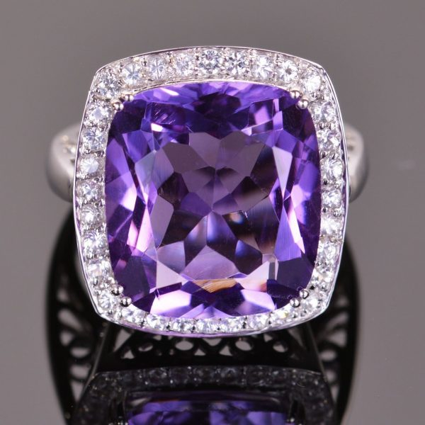 Cushion Cut Amethyst and White Sapphire Cocktail Ring 1