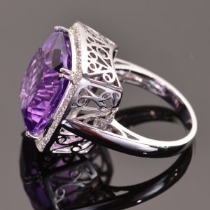Cushion Cut Amethyst and White Sapphire Cocktail Ring 4