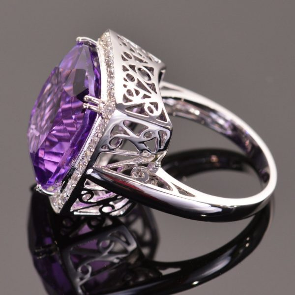 Cushion Cut Amethyst and White Sapphire Cocktail Ring 2