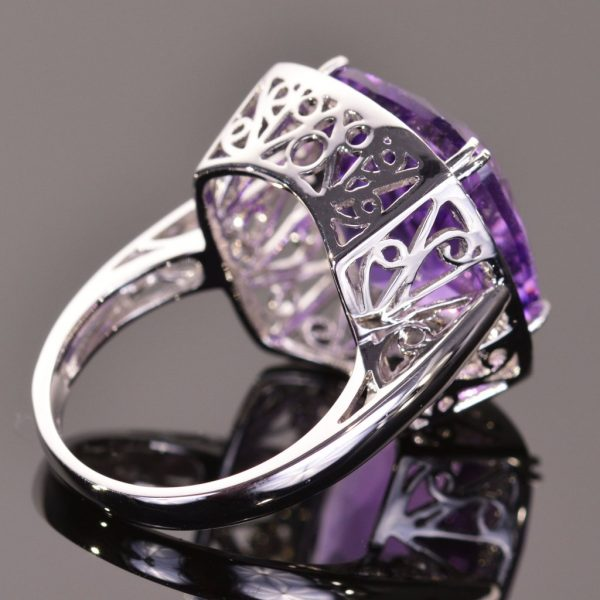 Cushion Cut Amethyst and White Sapphire Cocktail Ring 3