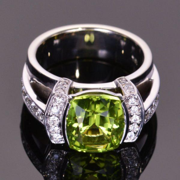 Cushion Cut Peridot and Diamond Modern Ring 1