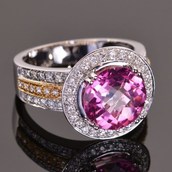Cache Ring in Pink Topaz and Diamond 2