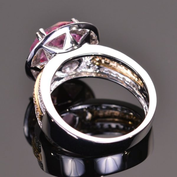 Cache Ring in Pink Topaz and Diamond 3
