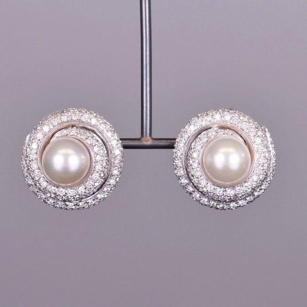 Classic Pearl and Diamond Earrings 1