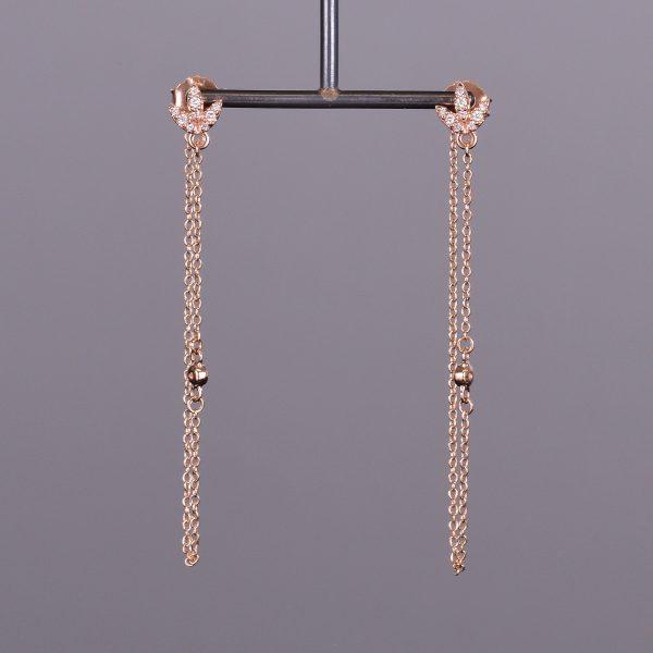 Diamond Leaf Chain Earrings 1