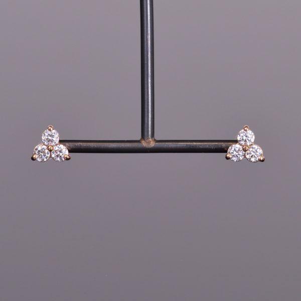 LXV Diamond Clover Earrings in Rose Gold 1