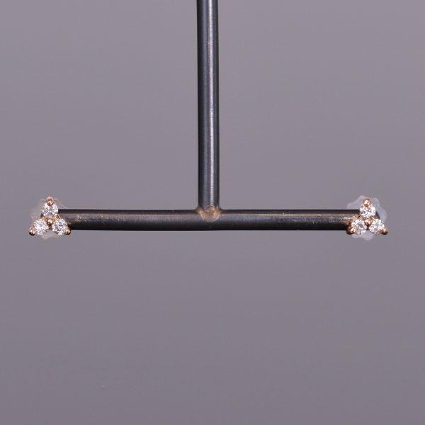 LXV Petite Diamond Clover Earrings in Rose Gold 1