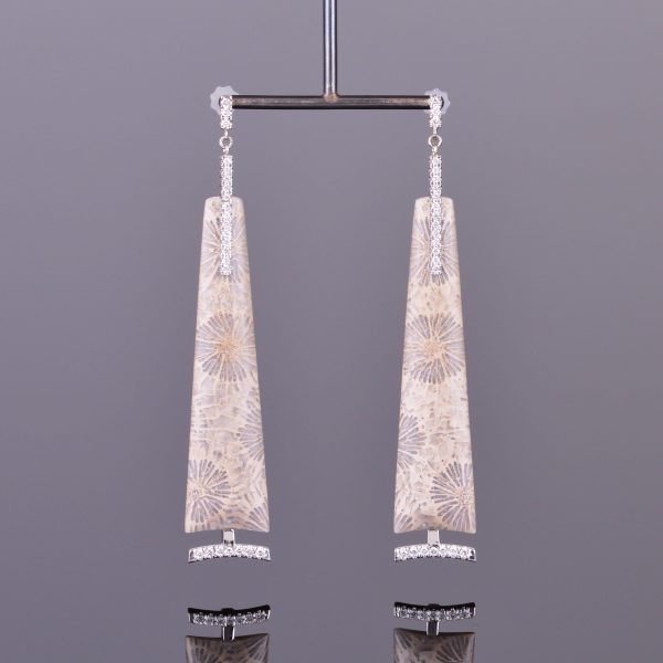 Fossilized Coral and Diamond Dangle Earrings 1